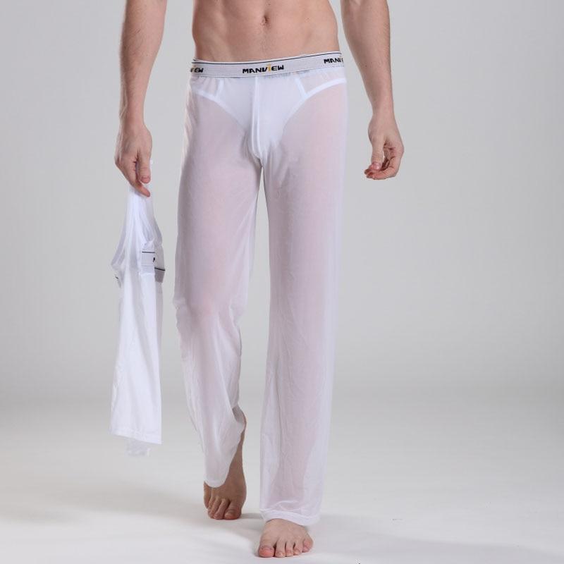 Mens Pants Transparent Mesh  Sexy Long Johns Factory Mens Pants Sweatpants Joggers Formal Pants Men M01-6