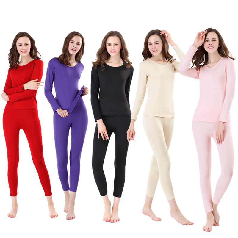 חם חדש נשים מוצק צבע תחתונים תרמיים חורף בגדים ארוך תרמית תחתוני סט סיטונאי (M-XXXL)