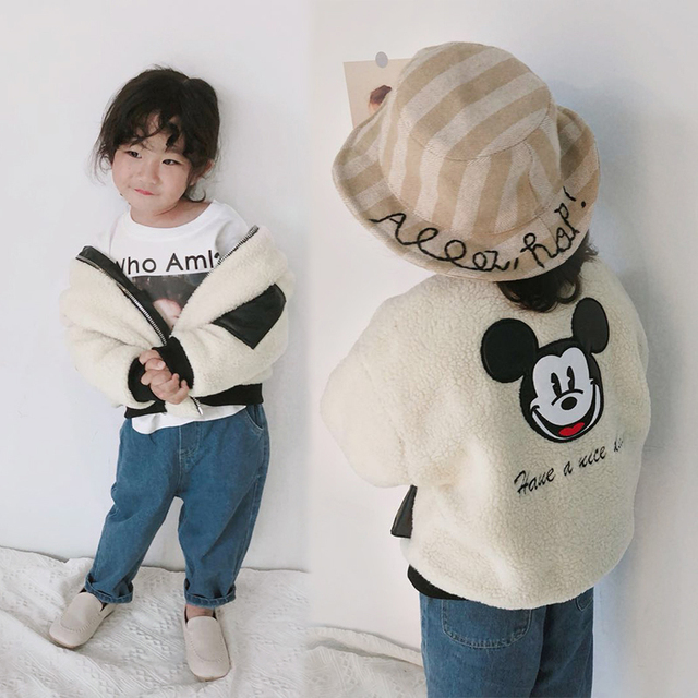 Warm Winter Wool Coat Baby Girls 2018 Korean Children Fashion Mouse Cartoon Fleece Kid Clothes Thick Jacket Outerwear for Girl
