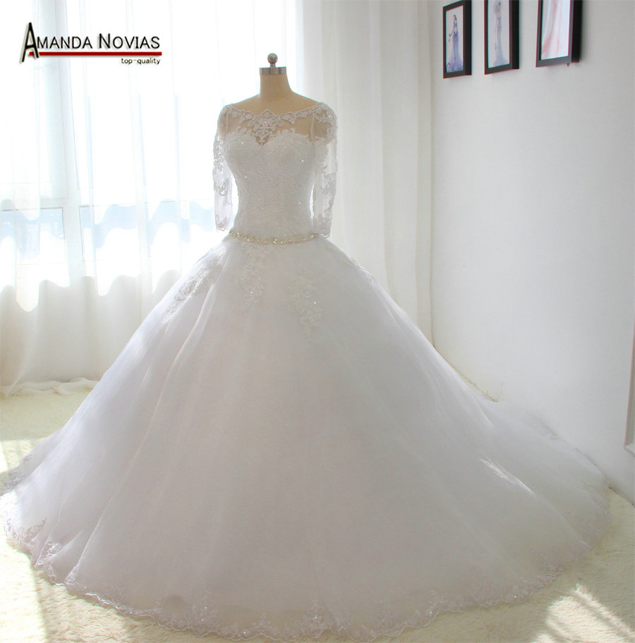 Three Quarter Sleeves Wedding Dress Real Photos Dropped Waist line ...