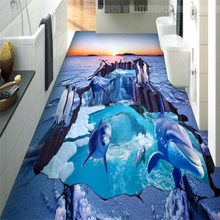 papel de parede 3D Glacier Penguin Custom Photo Floor 3D Wall paper for Bathroom Mural-3d PVC Self-adhesive Wallpaper flooring free shipping custom floor wallpaper chinese hawthorn lotus 3d flooring picture office self adhesive bathroom floor mural