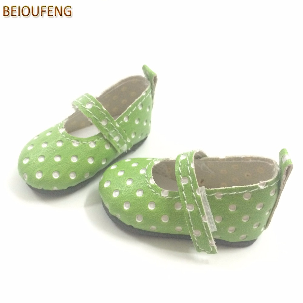 BEIOUFENG 6CM Doll Shoes Sneakers Shoes for Dolls,PU Toy Gym Shoes for Paola Reina Dolls,Polka Dots BJD Doll Footwear One Pair handmade chinese ancient doll tang beauty princess pingyang 1 6 bjd dolls 12 jointed doll toy for girl christmas gift brinquedo