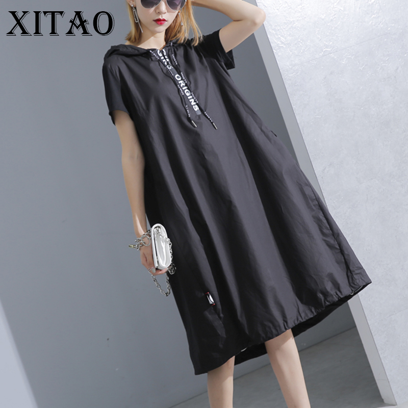 [XITAO] 2017 Summer New Women Casual Loose Solid Color Dress Pullover A Line Hooded Collar Knee Length Short Sleeve Dress KY428