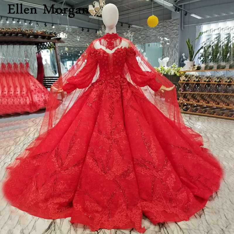 85008bb872 Elegant Red Long Sleeves Wedding Dresses with Beaded Sweetheart Off  Shoulder Lace up Real Photos Bridal