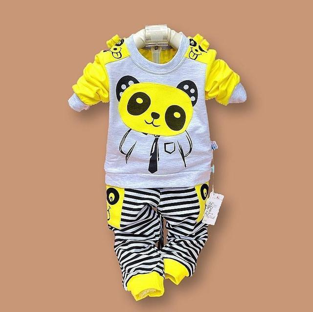 Baby Girls and Boys Suit Panda Cartoon Casual Long-sleeved Striped T-shirt + Pants 2pcs Kids Set