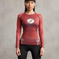 Camicia di compressione Flash 3D Stampato T Shirt Donna Raglan Manica Lunga Cosplay Quick Dry Fitness Abbigliamento Sottile Top Female