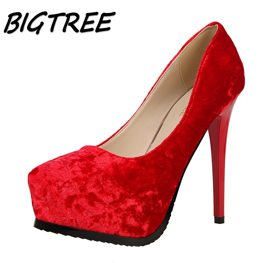 BIGTREE new women Pointed Toe High heel shoes woman shallow pumps ladies Sexy Nightclub Platform thick heels flock shoes 34-39 new 2017 spring summer women shoes pointed toe high quality brand fashion womens flats ladies plus size 41 sweet flock t179