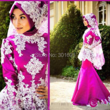 Oumeiya Real Pictures OW527 Satin Two Color Mermaid High Neck Long Sleeve Hijab Muslim Fuchsia Wedding Dress 2016