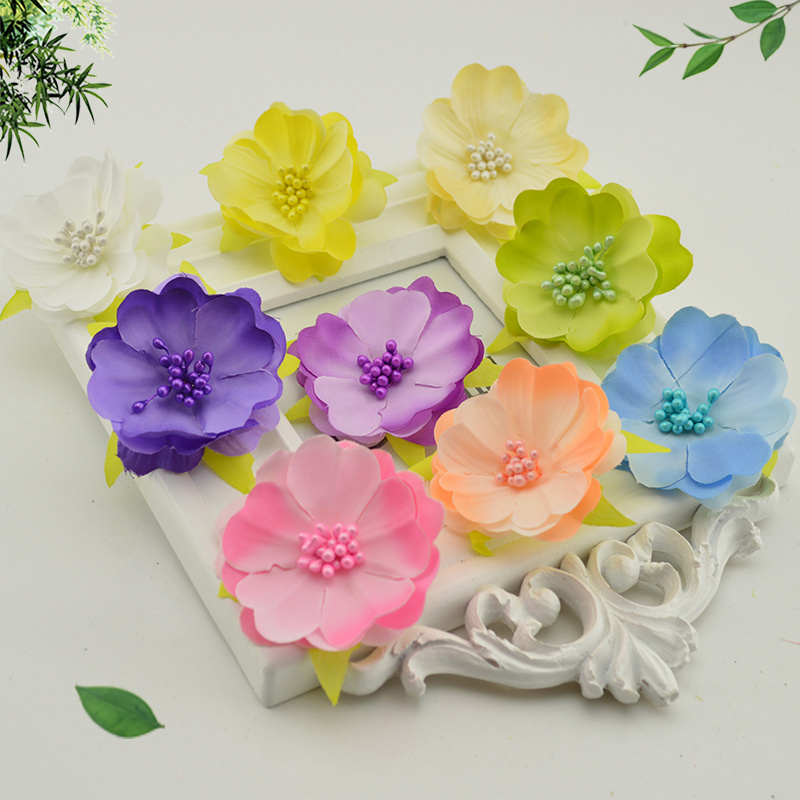 1 pieces silk cherry blossoms artificial flowers heads for for Application box decoration