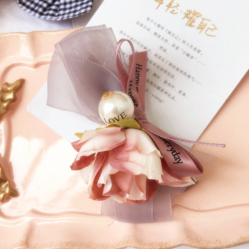 Handmade Flower Hair Accessories For Girls Pearl Yarn Weaving Hairpin Hair Bows Pink Rim Hair Clips