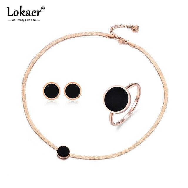 Lokaer Trendy Black Acrylic Stainless Steel Snake Chain Thin Necklace Bracelet Earrings Rings Jewelry Sets For Women Girl SE004