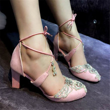 Cute Rhinestone Thick High Heels Wedding Dress Shoes Woman Lace Up Gladiator Sandals Pink Suede Women Pumps Valentine Shoe