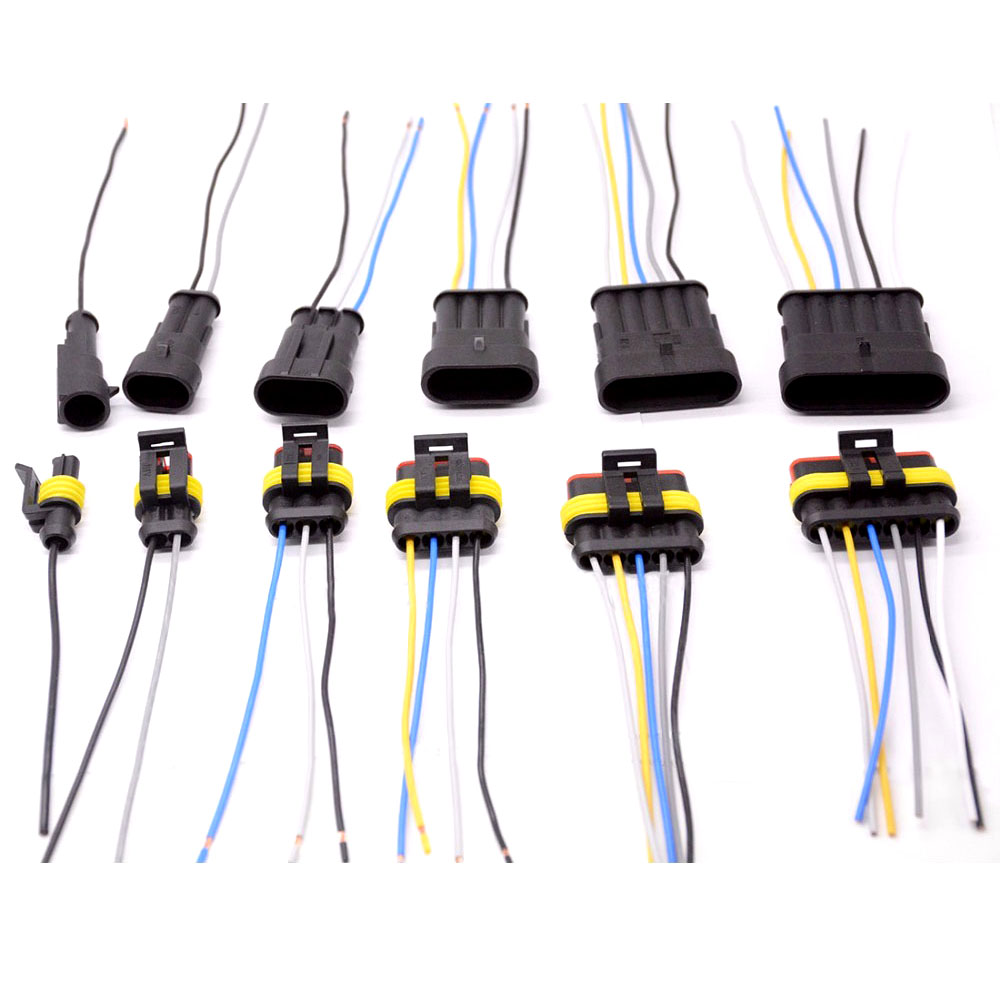 1 2 3 4 5 6 Way 1P 2P 3P 4P 5P 1.5 Kit Auto Connector Male & Female Waterproof Electrical Plug with 14AWG Cable Wire Harness(China)