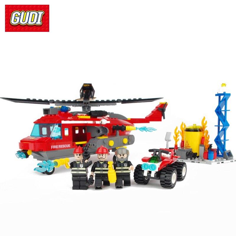 Fire Heavy Helicopter Building Blocks Fun Toys Car Airplane Fireman Figures Model Enlightening Gift DIY Assembly Bricks