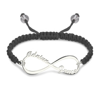 Personalized Infinity Names Cord Bracelet Sterling Silver Infinity Jewelry for Women