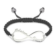 Персонализированные Бесконечности имена шнур браслет серебро Бесконечность ювелирные изделия для Для женщин