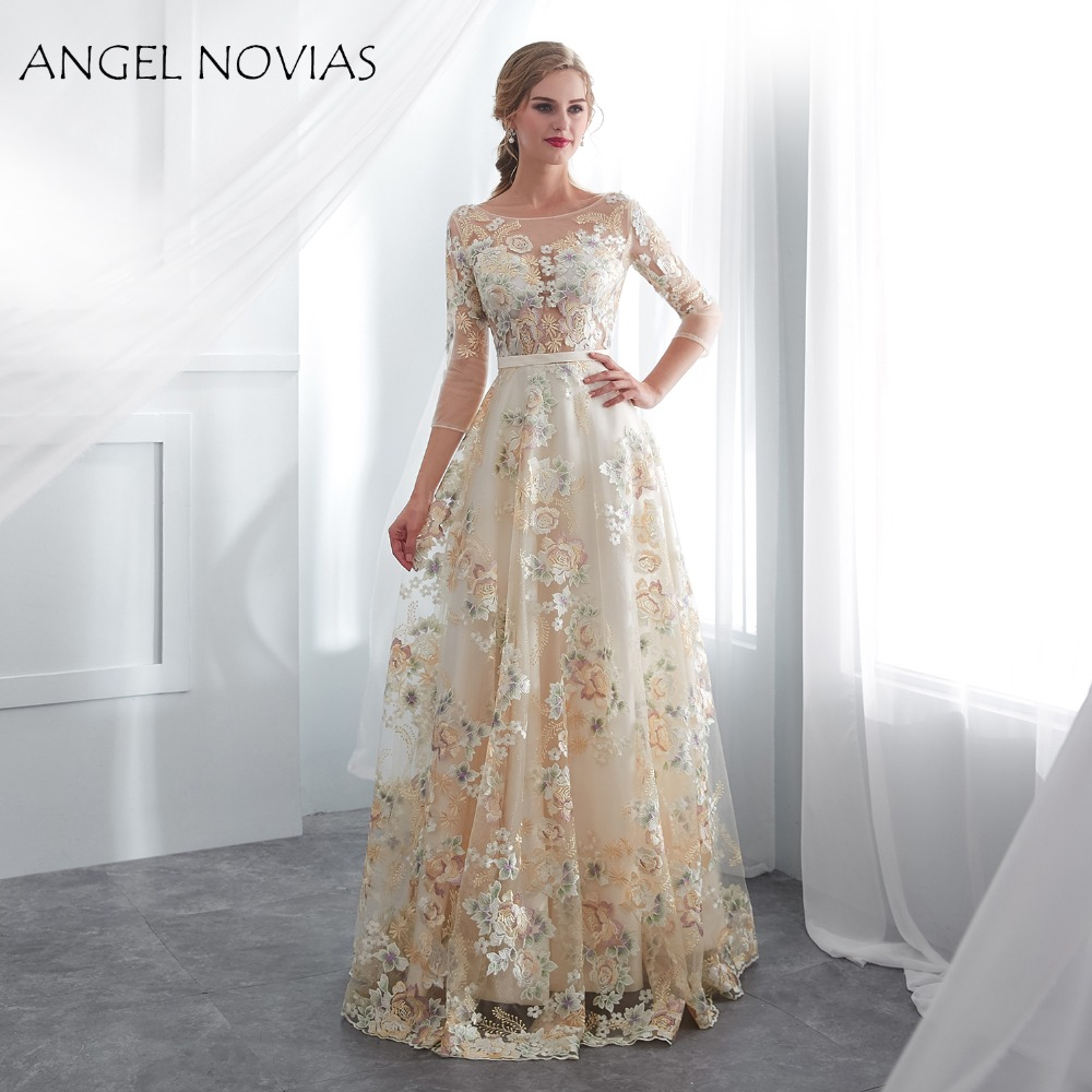 ANGEL NOVIAS Real Long Lace Fashion Elegant   Evening     Dress   2018 with 3/4 Sleeves Formal Party Prom Gown Robes De Soiree