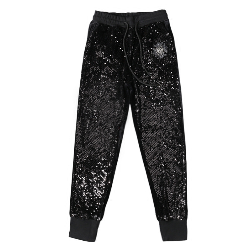 Casual Women High Waist Pants Drawstring Shiny Sequined Casual Lady Trousers Velour Superelast Hip Hop Female Long Sequins Pants