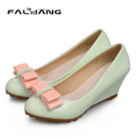 4 Colors Woman Wedge High Heel Bowtie Bridal Wedding Shoes 2016 Spring Autumn Female Round Toe