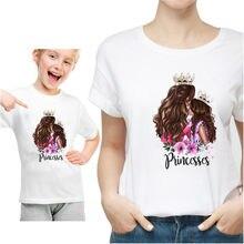 Модная трендовая белая футболка Харадзюку для мамы и дочки одежда