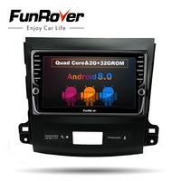Funrover IPS 8 Android 8.0 Car dvd GPS Player Navi stereo for Mitsubishi Outlander 2006 2014 Auto Radio Multimedia WIFI audio