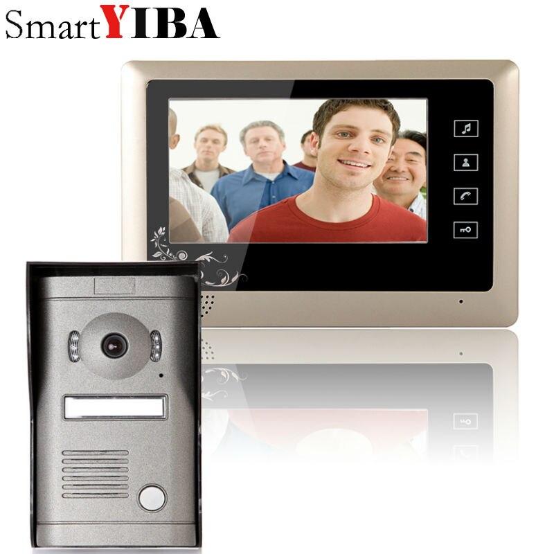 """SmartYIBA 7"""" Audio Intercom TFT LCD Wired Video Door Phone Visual Home Video Intercom Outdoor Door bell doorbell with Camera"""
