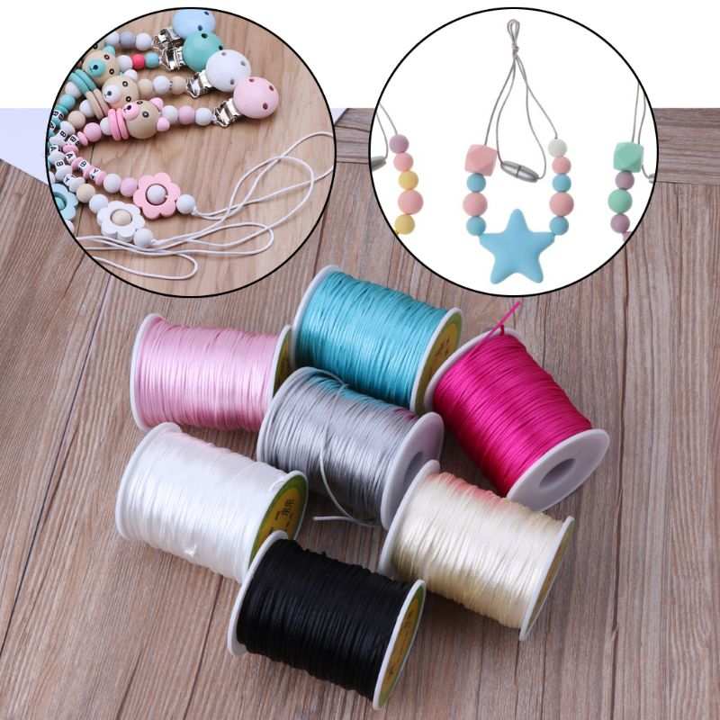 Colorful 80 Meters Satin Silk Rope Nylon Cord For Baby Pacifier Chian Teether Accessories Teething Necklace Cord DIY Tool in Pacifiers Leashes Cases from Mother Kids