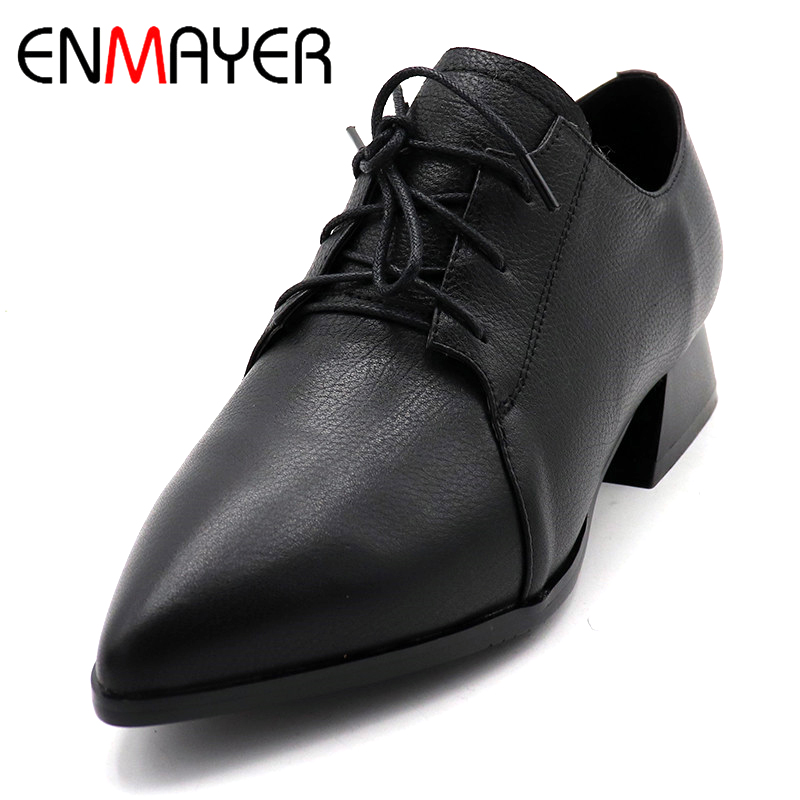 ENMAYER Low Heel Shoes Woman Pointed Toe Lace-up Girls Casual Shoes Square Heel Pumps Solid Platform Shallow Lades Shoes lin king comfortable solid square heel women pumps fashion lace up leather platform shoes shallow mouth round toe single shoes