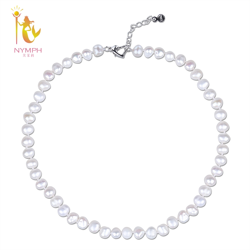 NYMPH Freshwater Pearl Necklace Baroque White 8 9mm Natural Choker Necklace Wendding Party Gift For Women
