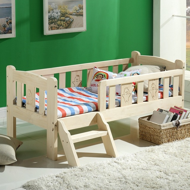 Modern Fashion Solid Wood Children Bed Widen Lengthen Baby Pine Wooden With Ladder Fence Storage