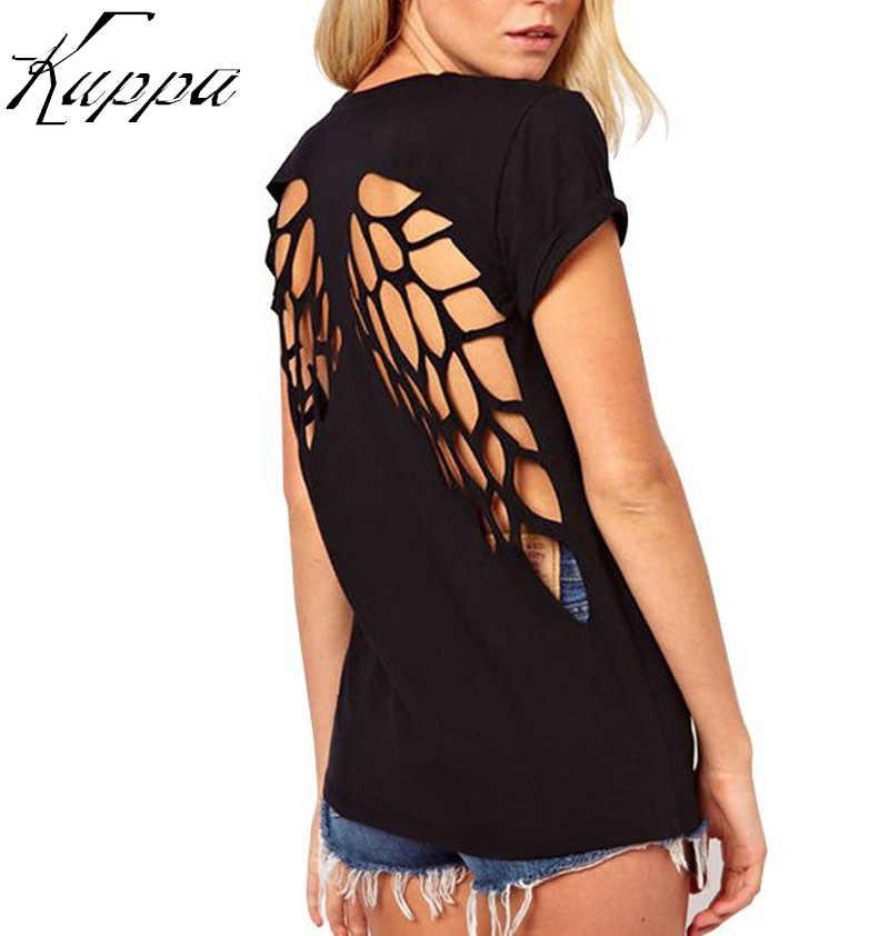 Playera con espalda al descubierto de talla grande a la moda con alas de ángel para mujer Camisetas cortas blancas y negras camiseta de verano S-3XL