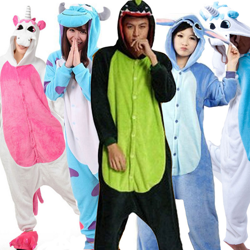 Unicorn Stitch Giraffe Unisex Flano Pajamas Adults Cosplay Cartoon Animal Kigurumis Onesies Sleepwear Hoodie For Women Men Child