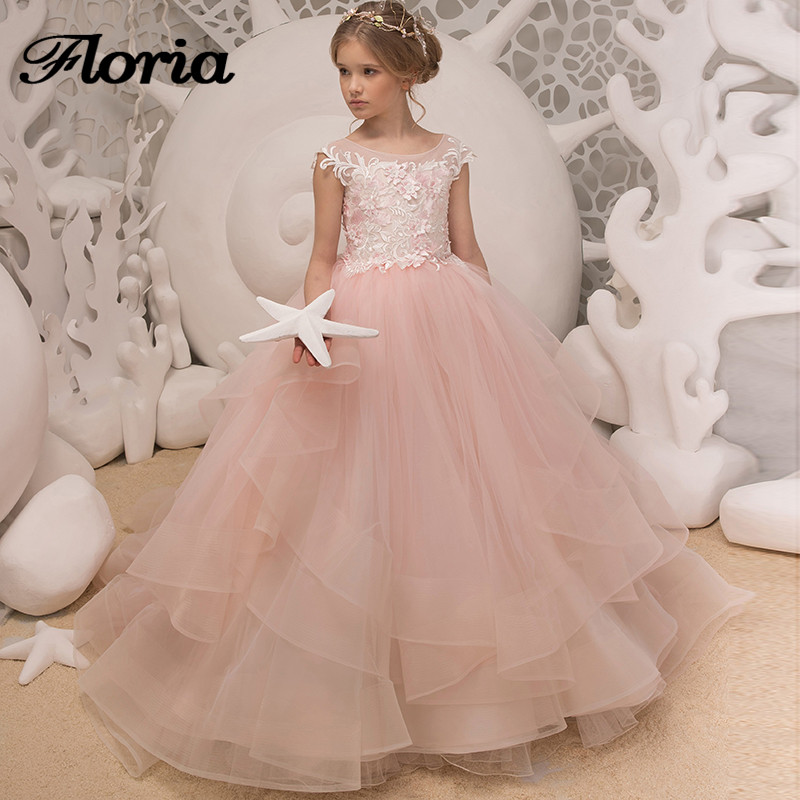Princess Pink Flower Girl Dresses For Weddings Ball Gown Girls Pageant  Gowns First Communion Dresses For Girls Vestidos Daminha 2bba29a48fbf