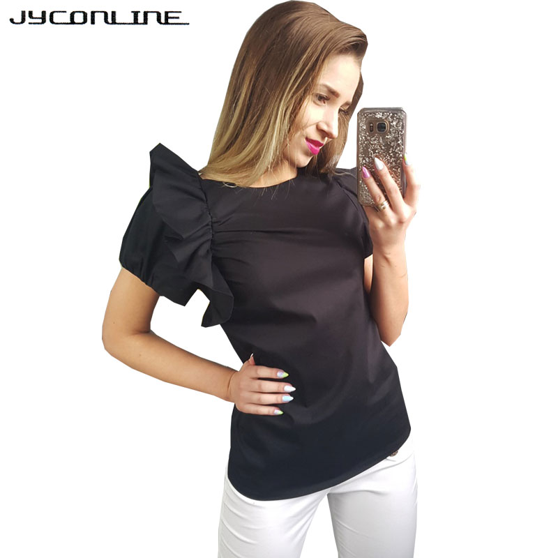 JYConline 2017 Summer Women Tops Short Sleeve Blouse Shirt Blusas Work Wear OL Casual Shirts Women Slim Tops White Womens Shirt