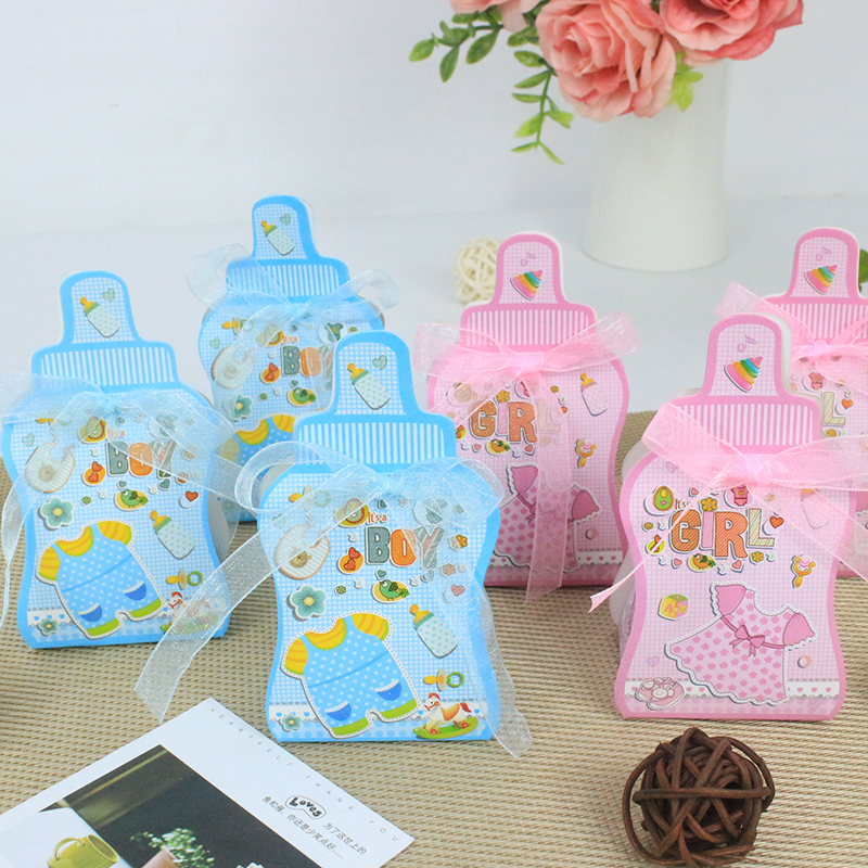 AVEBIEN 50pcs Cute Cartoon Boy & Girl Baby Shower Candy Box Birthday Party Decorations Kids Souvenirs Chocolate Paper