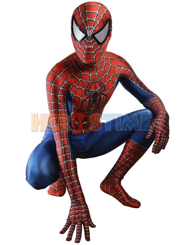 Raimi Traje Spiderman 3D Impresso Crianças/Adulto homem-Aranha Traje Para O Dia Das Bruxas Cosplay Zentai Lycra Spandex Terno Livre grátis