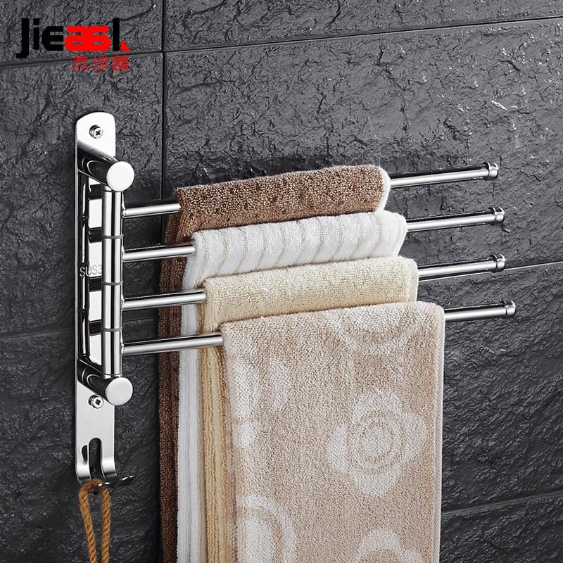 SUS 304 Stainless Steel Swing Towel Rack Wall Mount Swivel Towel Holder Rail Bathroom Rotating 3 Arm Towel Bar with Hooks F-3004 аксессуар sp swivel arm mount 53060