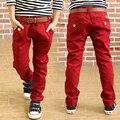 2016 de Moda los pantalones de primavera niños color sólido pantalones sueltos 100% pantalones de algodón para niños straight encuadre de cuerpo entero pantalones casuales