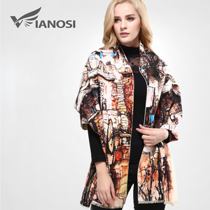 Image 2 - [VIANOSI] szalik markowy zima kobiety szalik kobieta wełna drukowanie szal najlepsza jakość Cashmere Studios ciepła kobieta okłady VA063