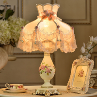 french rustic resin desk light fabric lampshade princess room deco table lamps lamparas dormitorio Bedroom lighting fixtures