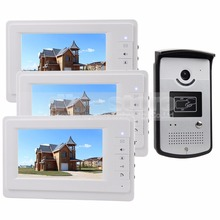 DIYSECUR 7 inch Wired Video Door Phone Kit 700TVL Camera RFID Unlocking Night Vision 3 Monitor