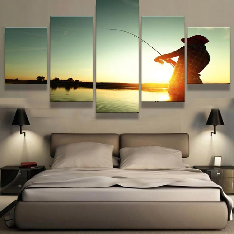 online buy wholesale art fisherman from china art fisherman canvas wall art living room home decor frame prints poster 5 pieces pictures fisherman fishing sunset
