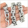 Huge Heavy 316L Stainless Steel Silver Box Byzantine Tone Chain Mens Boys Necklace&Bracelet Bangle 12MM Top Quality Hot