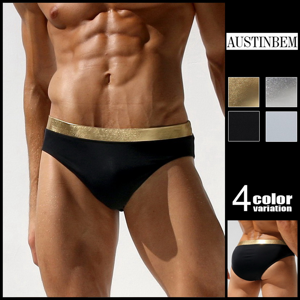 57eab686d7 Austinbem Swimsuit Men men's Swimming Trunks Metallic Gold Print Belt Mens  Swim Briefs Sungas De Praia Homens 23803