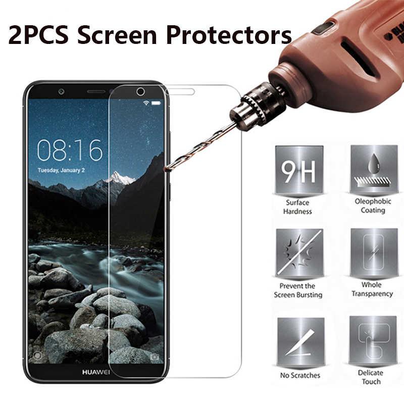 2 Pcs Pelindung Layar Film Pelindung untuk Huawei P20 Lite Honor 6X7X8X8 9 10 lite V10 Film Marah Pelindung Layar Kaca