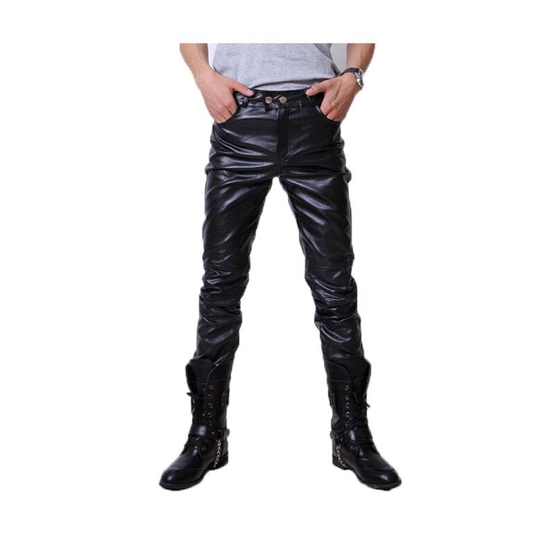 UUYUK Men Stitching Stylish Clubwear PU Faux-Leather Biker Fit Flat Trousers