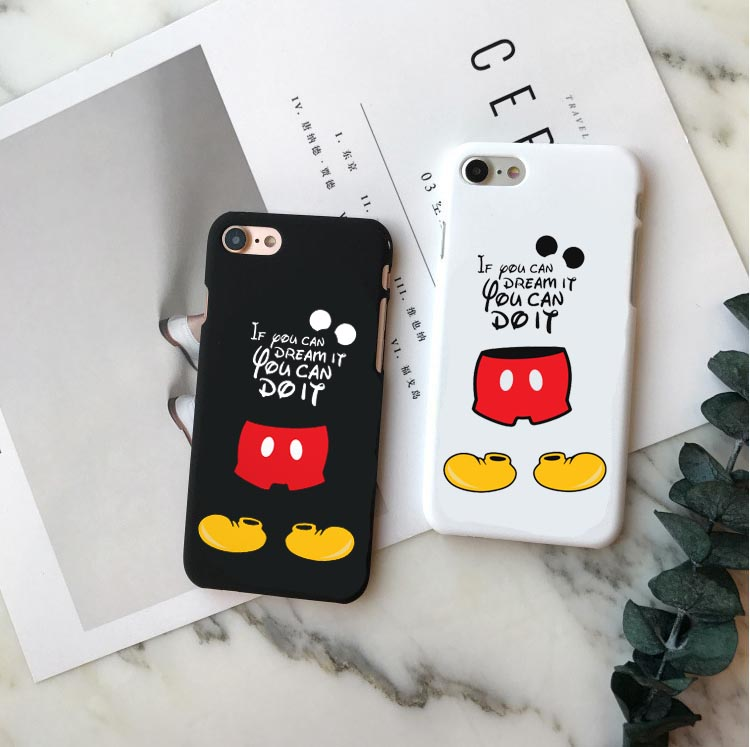 Fashion Cuddly Mickey Mouse Hard plastic Black and white Phone Cases Cover For iPhone X10 5S SE 6 6S Plus 7 8 Plus XR XS MAX in Half wrapped Cases from Cellphones Telecommunications
