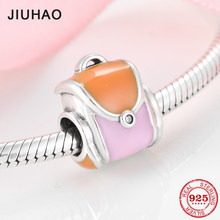 100% Authentic 925 Sterling Silver Colorful fashion ladies backpack Charms Beads Fit Original Pandora Bracelet Jewelry making(China)