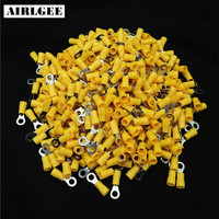 500 Pcs RV5.5 5 AWG 12 10 Yellow Sleeve Pre Insulated Ring Terminals Wire Connector Free shipping