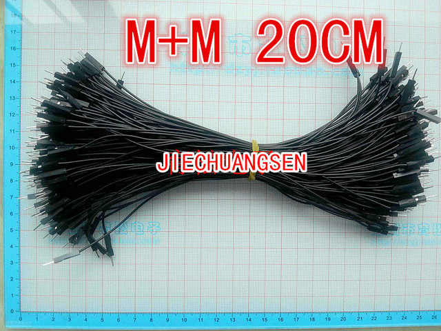 200pcs/lot New 1p to 1p 20cm BLACK color male to male jumper wire Dupont cable 7 strands of copper conductor